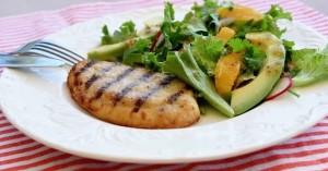 frango e salada